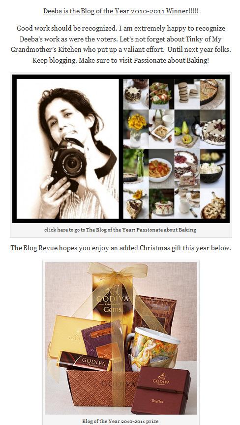 Blog Revue Winner 2010-2011