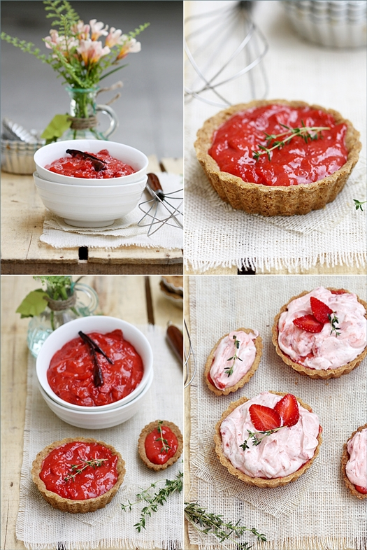 Whipped Strawberry Curd Cream Tartlets with Walnut Shortbread Crus