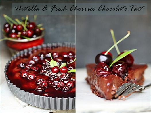 Nutella & Fresh Cherries Chocolate Tart