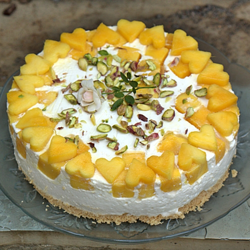 Dessert No Bake Upside Down Mango Quark Cheese Pie Pieformikey Passionate About Baking