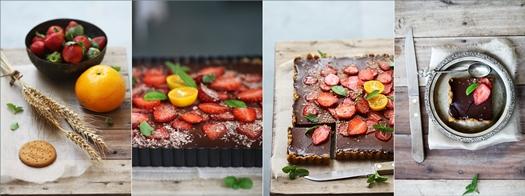 Rich Bittersweet Chocolate Orange Strawberry Tart