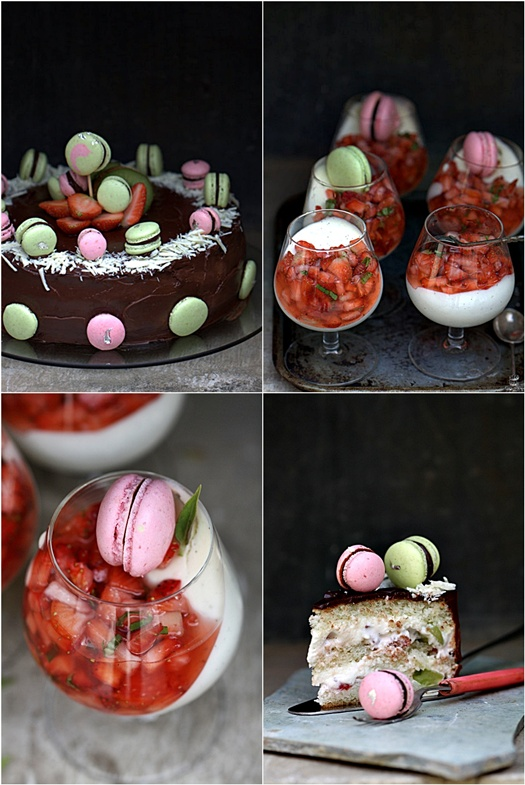 Strawberry & Kiwi Bavarian Cake with Razzle Dazzle Macarons; Vanilla Bavarian Mousse with Strawberries & Basil