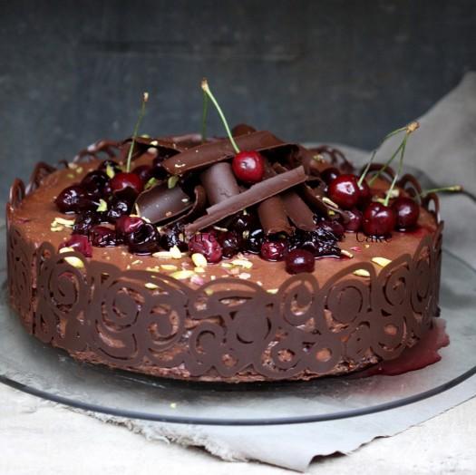 Dark Chocolate Cherry Mousse Cake