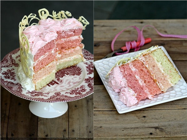 Magnificent Baking Ombre Almond Layered Cream Cake Passionate About Baking Funny Birthday Cards Online Inifodamsfinfo