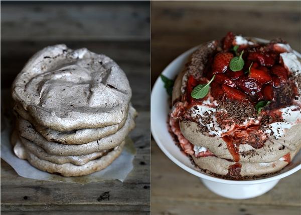Double Chocolate Strawberry Pavlovas