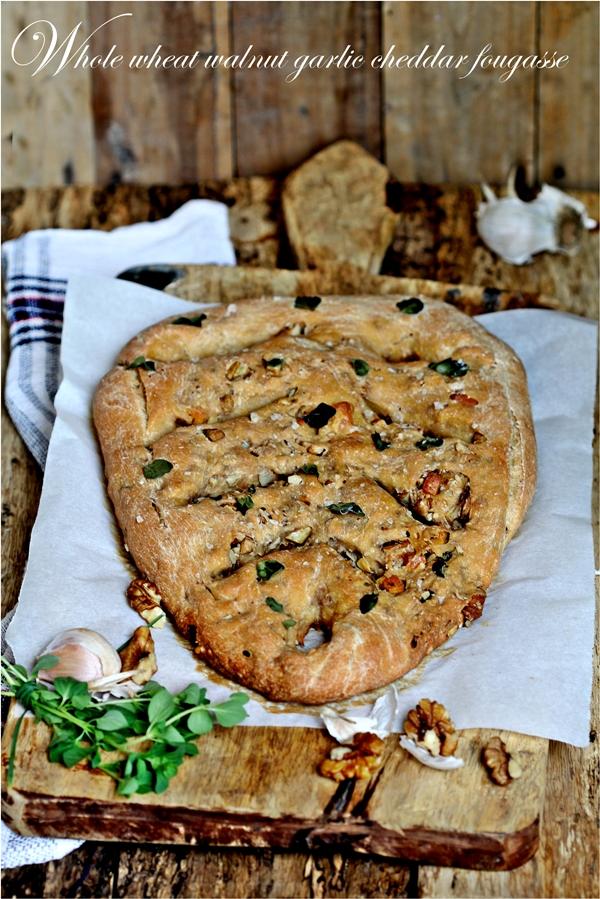 Whole Wheat Walnut Garlic Cheddar Fougasse