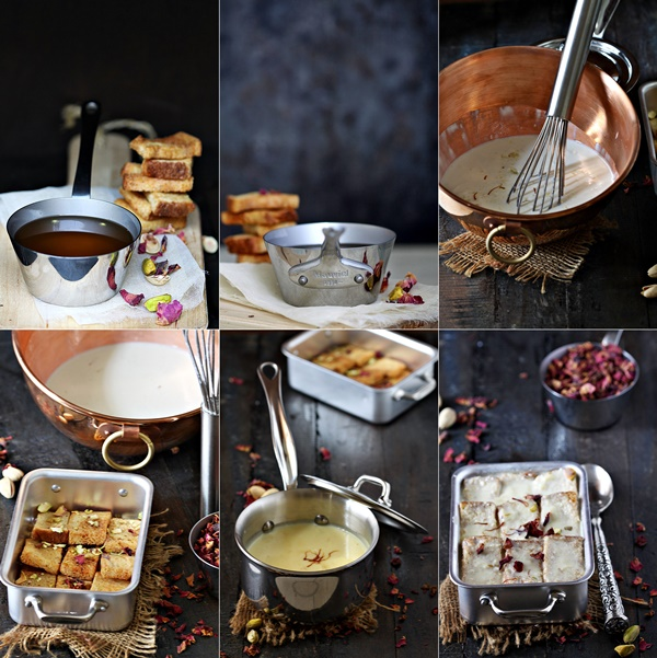 Saffron Pistachio Indian Bread Pudding with Mauviel 1830