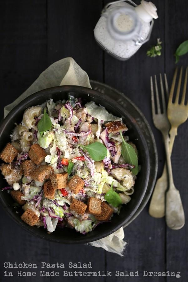 Chicken Pasta Salad in Home Made Buttermilk Salad Dressing 1 800