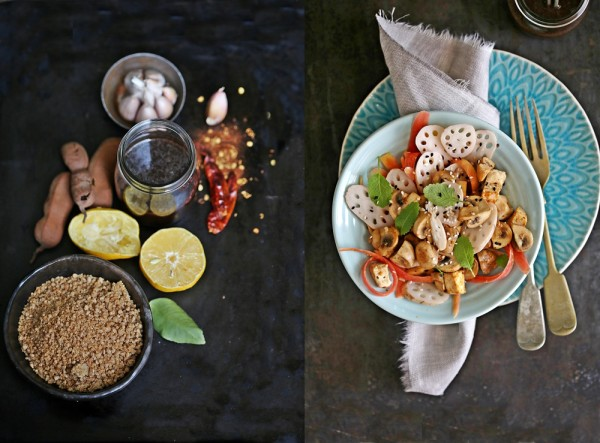 Asian Veg Salad with Jaggery Tamarind Dressing