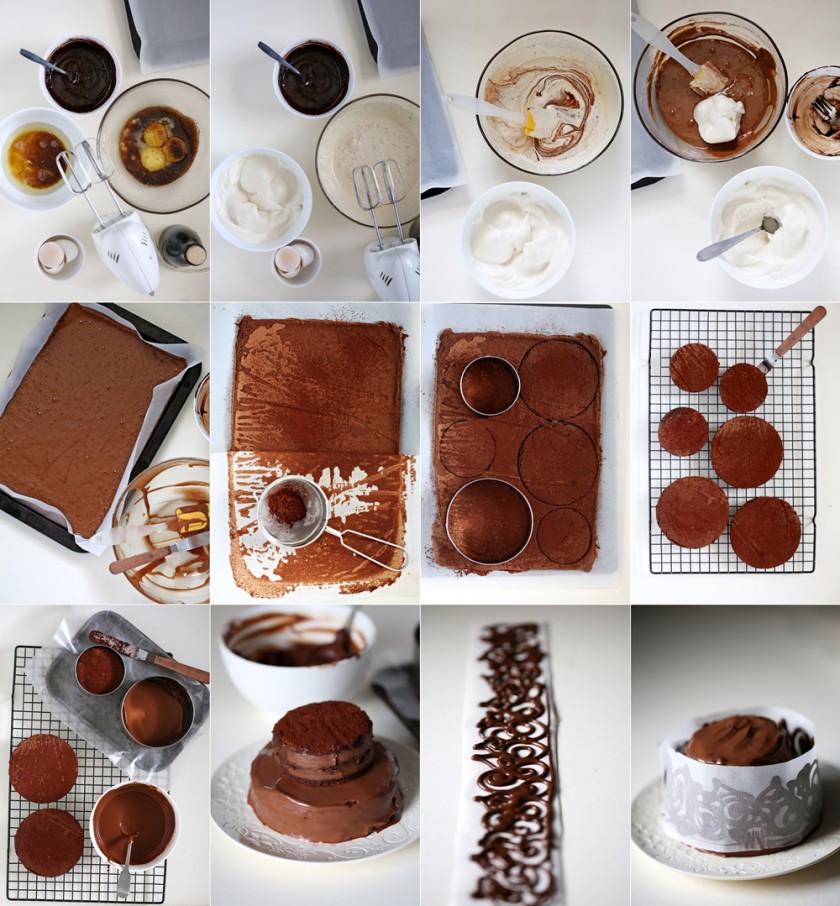 Step by step Flourless GF Mini Dark Chocolate Layered Cake