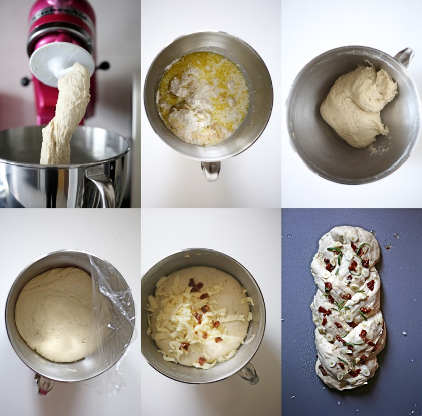 Step by step - Savoury Braided Bread ... with garlic, rosemary and sundried tomatoes