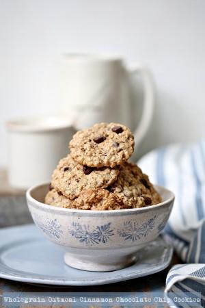 Wholegrain Oatmeal Cinnamon Chocolate Chip Cookies