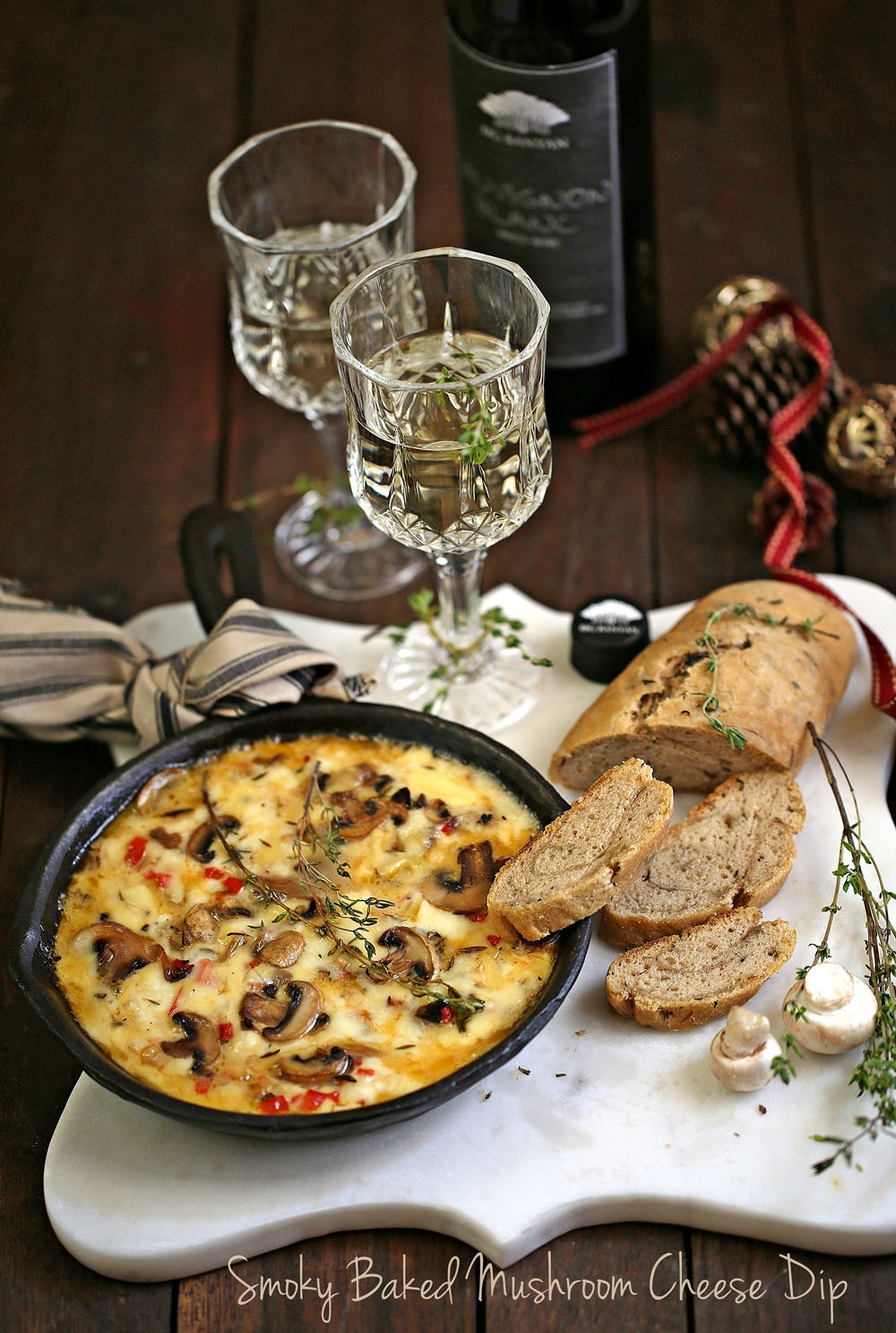 Smoky Baked Mushroom Cheese Dip - Passionate About Baking