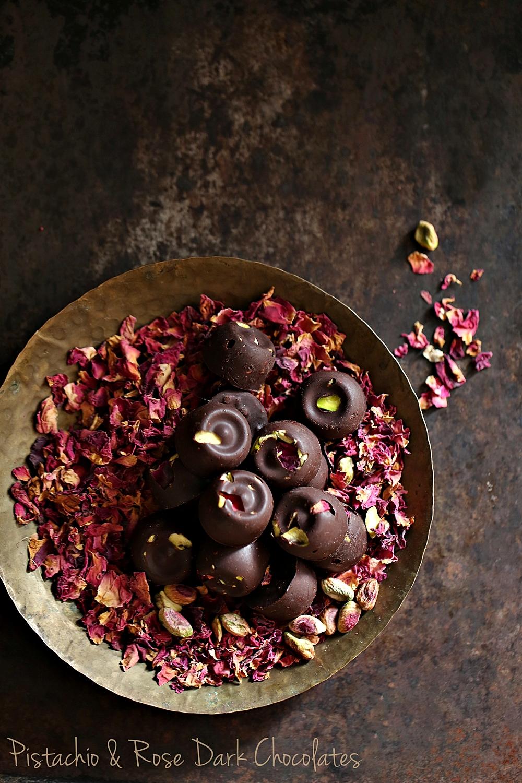 Pistachio Rose Dark Chocolates Simple Sweet Bites